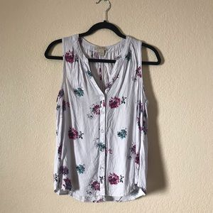 Lucky Brand Floral V-Neck Button Down